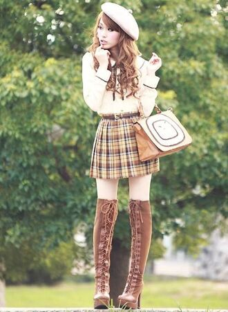 skirt beret pleated skirt blouse thigh high boots shoes kawaii hat white winter outfits