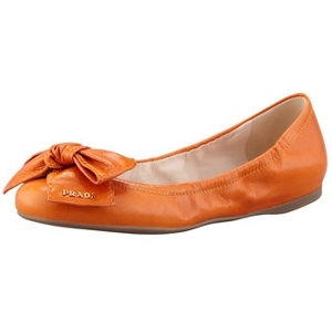 Prada Papaya Leather Logo Bow Scrunch Ballet Flat - Sale