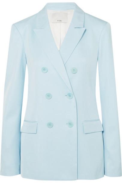 Tibi blazer blue satin sky blue jacket