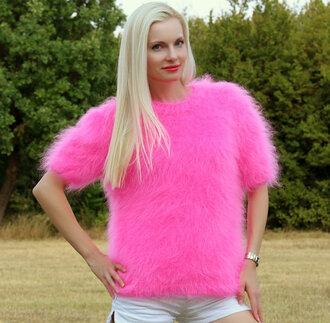 blouse hand knit made pink sweater jumper crewneck supertanya fluffy soft angora wool cashmere alpaca