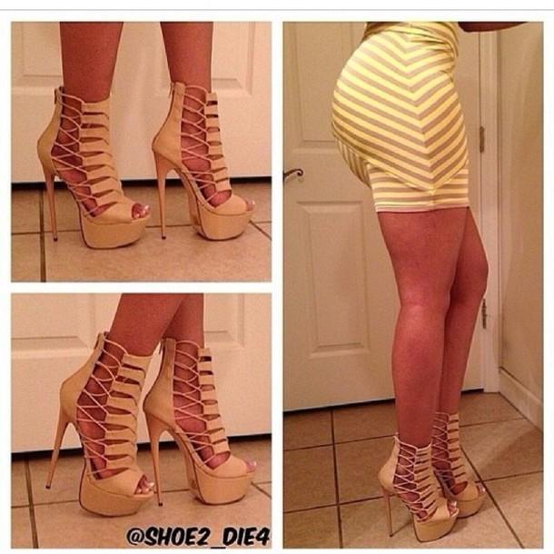 shoes high heels beige
