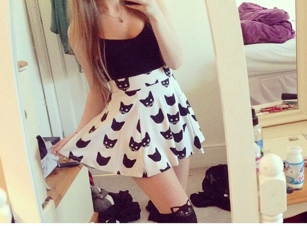 skirt socks skater skirt cat print skirt marina joyce