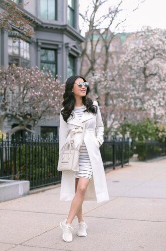 coat white coat shoes white shoes nike trainers bag dress sunglasses