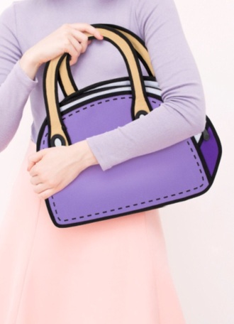 bag real unrealistic reality purple handbag cute cartoon bags and purses kawaii kawaii accessory