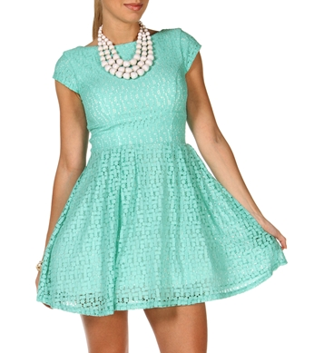 Mint Geometric Lace Dress