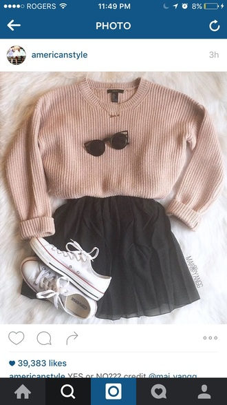 sunglasses sweater pink long sleeves