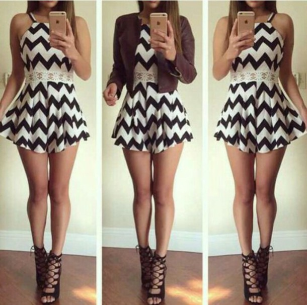dress zigzag dress black and white dress cute high heels shoes