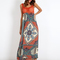 Jovana - crochet & print mix maxi multi dress - blue vanilla