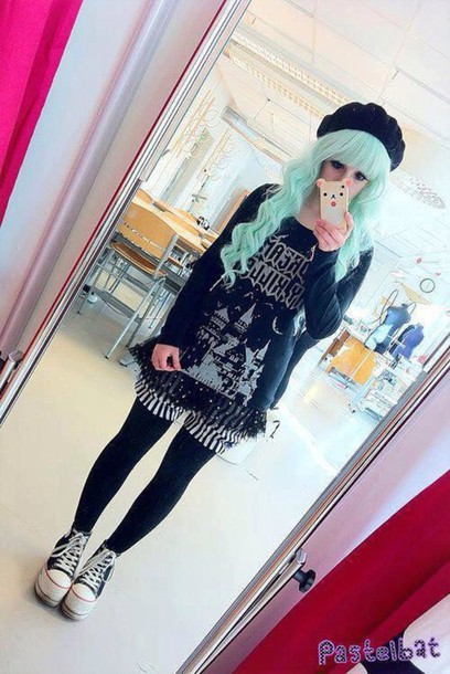 pants hat leggings shoes sweater jeans kawaii pastel goth cute top