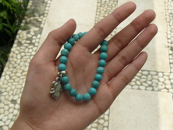 frantic jewelry jewelry blue jewels summer green aqua elephant animal bracelet cute boho indie jewelery