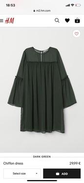 dress,dark green,chiffon dress