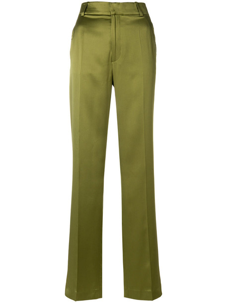 women silk green pants