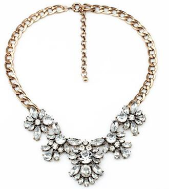 floral white jewels fashion girly necklace cute gorgeous black gold diamon statement necklace diamond necklace silver floral necklace chain collar necklace flower necklace
