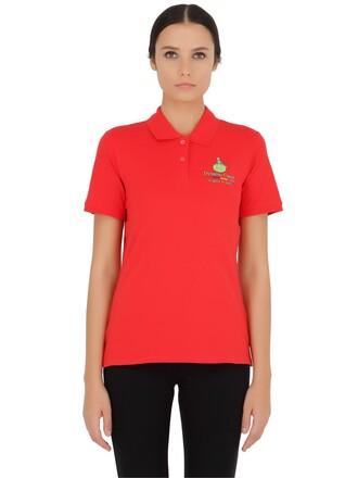 shirt polo shirt cotton red top