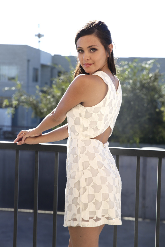 White Lace Cutout Dress