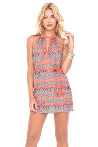 dress beach dress braided tie v-neck string luli fama halter dress backless mini dress bikiniluxe