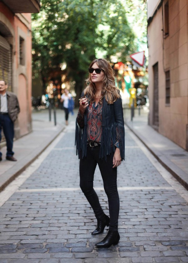 my daily style blogger jacket fringes black boots native american fringed jacket hipster boho jacket black jacket sunglasses black sunglasses black jeans skinny jeans fall outfits boho boho chic ankle boots mid heel boots
