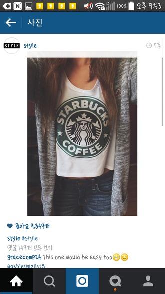 shirt white t-shirt starbucks logo