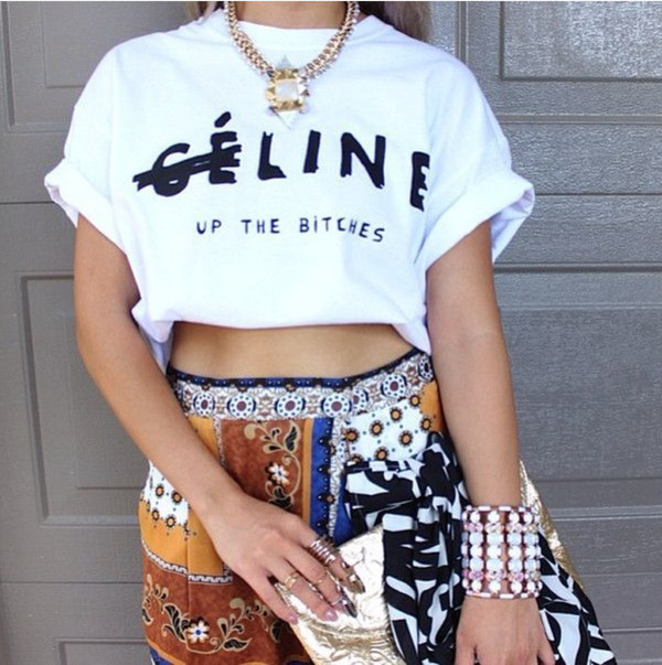 t-shirt celine top line up the bitches crop tops white t-shirt shorts