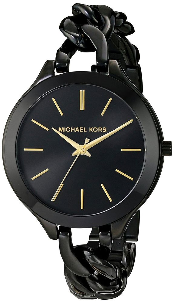 Michael kors 'slim runway' chain bracelet black women's watch mk3317