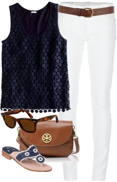 top navy blue shirt white jeans navy shirt jackrogers jack rogers jack roger sandals textured top
