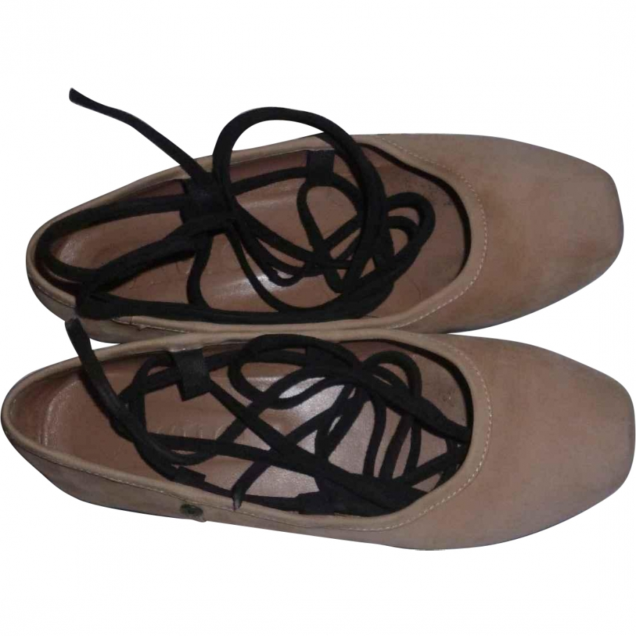 Nude suede position ankle tie ballet shoes ACNE Beige size 38 EU in Suede Spring / Summer - 913990