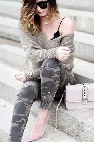 pants tumblr camouflage camo pants green pants sweater grey sweater v neck bracelets gold bracelet gold jewelry jewels jewelry bag lilac chain bag pumps pointed toe pumps high heel pumps underwear black underwear bralette cute outfits outfit idea off the shoulder sweater