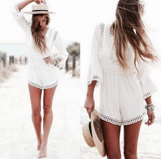 jumpsuit white bohemian boho chic boho summer outfits summer beige white jumpsuit beach
