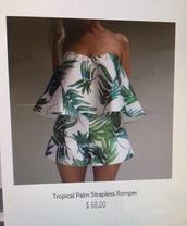 dress,tropical,summer dress,green dress,romper,jumpsuit