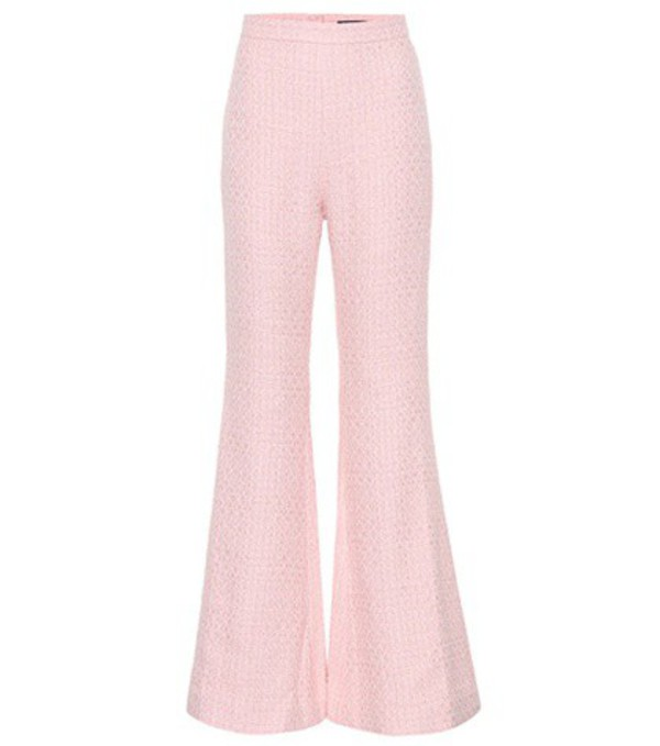 Balmain Cotton-blend high-waisted trousers in pink