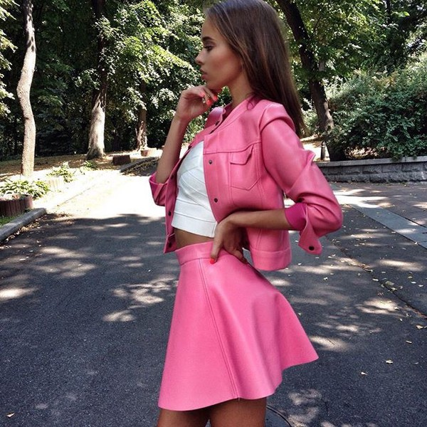 Dress: style, skirt, jacket, pink, leather, pink skirt - Wheretoget