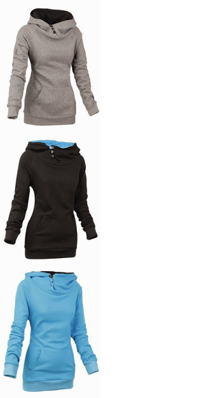 buttons sweater hoodie blue black plain comfy