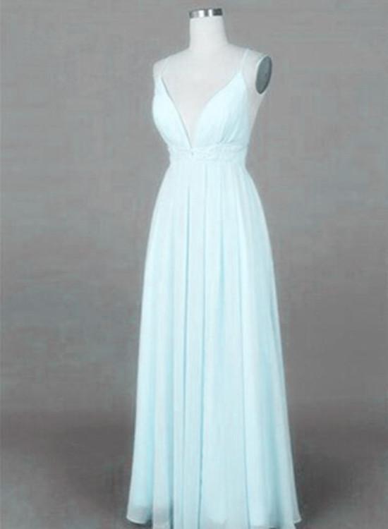 71574214d05 Mint Blue Straps Chiffon Long Party Dress