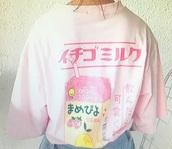 shirt,strawberry,milk,strawberrymilk,pink,cute,unisex