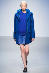 jacket,all blue,All blue outfit,blue coat,skirt,blue skirt,mini skirt,leather skirt,sweater,blue sweater,sneakers,black sneakers,runway