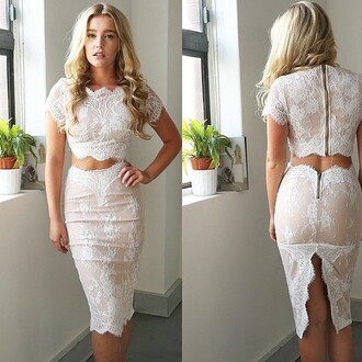 dress lace lace dress white lace dress two piece dress set