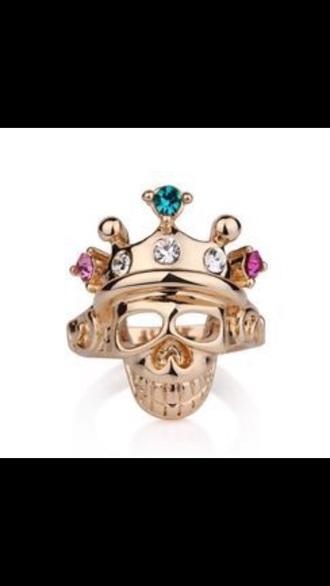jewels ring skull diamonds crown