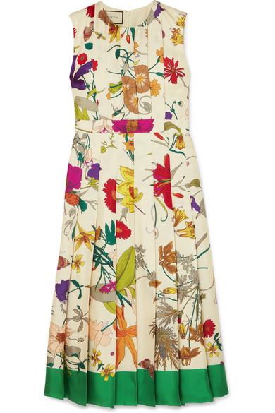 Gucci - Pleated floral-print silk midi dress