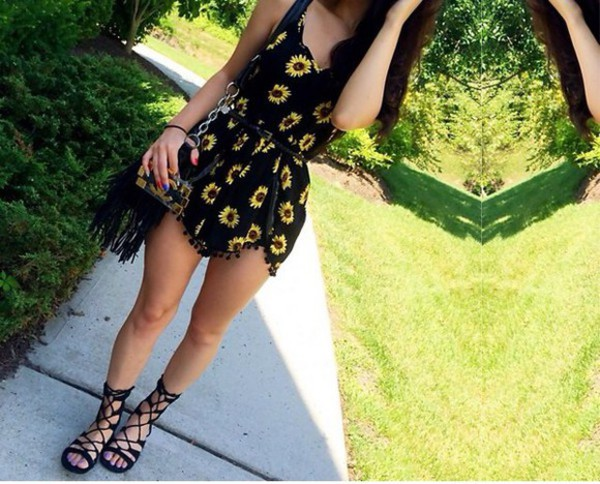 romper sunflower floral summer outfits