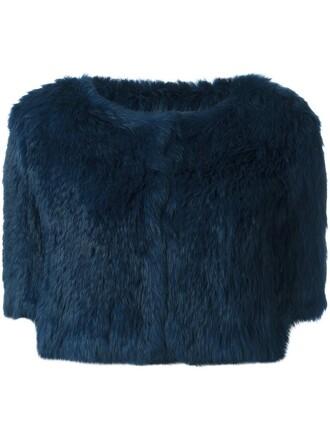 jacket fur jacket cropped fur blue