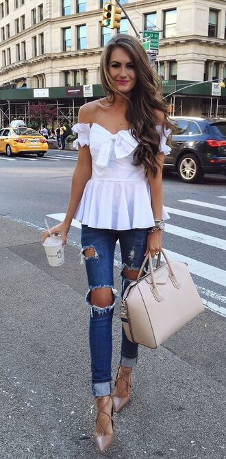 jeans white off shoulder top distressed denim jeans beige bag beige stilettos blogger