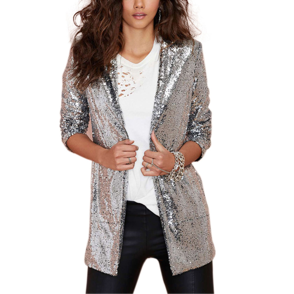 Womens Fashion Long Sleeve Glitzy Silver Sequin Blazer Coat Cardigan