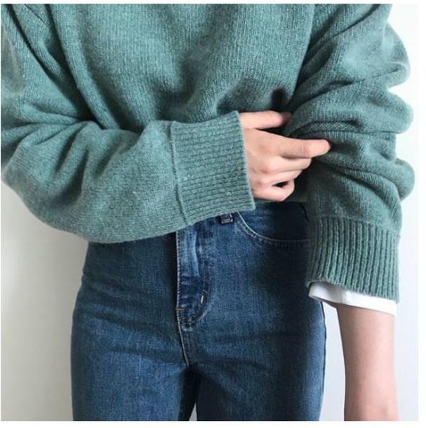 sweater girly green sweatshirt jumper knitwear knit knitted sweater