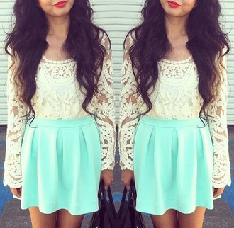 shirt white lace sleaves skirt green mint vintage summer spring girly cute dress where do you find these crazy shirts blouse lace top boho mint green skirt tumblr skirt neon blue long sleeves crop tops