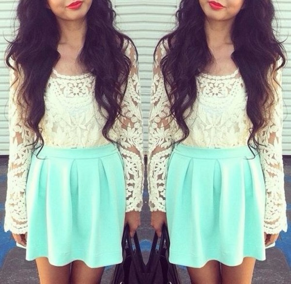 shirt white lace sleaves skirt green mint vintage summer spring girly cute