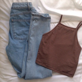 shirt grunge halter top crop tops cute top style striped shirt striped top top jeans high waisted jeans grunge t-shirt tank top soft brown black stripes cropped trendy summer fashion stripes crop brandy melville tumblr aesthetic tumblr outfit cute red and white edgy