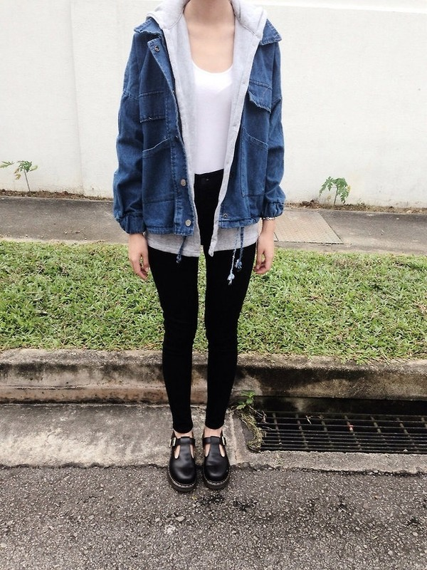 jacket clothes denim jacket winter outfits winter outfits grunge punk hioster shoes coat jeans