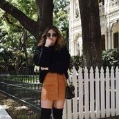 skirt,black sweater,tumblr,mini skirt,button up,suede,suede skirt,sweater,sunglasses,bag,black bag