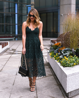 visions of vogue blogger dress shoes bag jewels make-up fall outfits lace dress sandals green dress