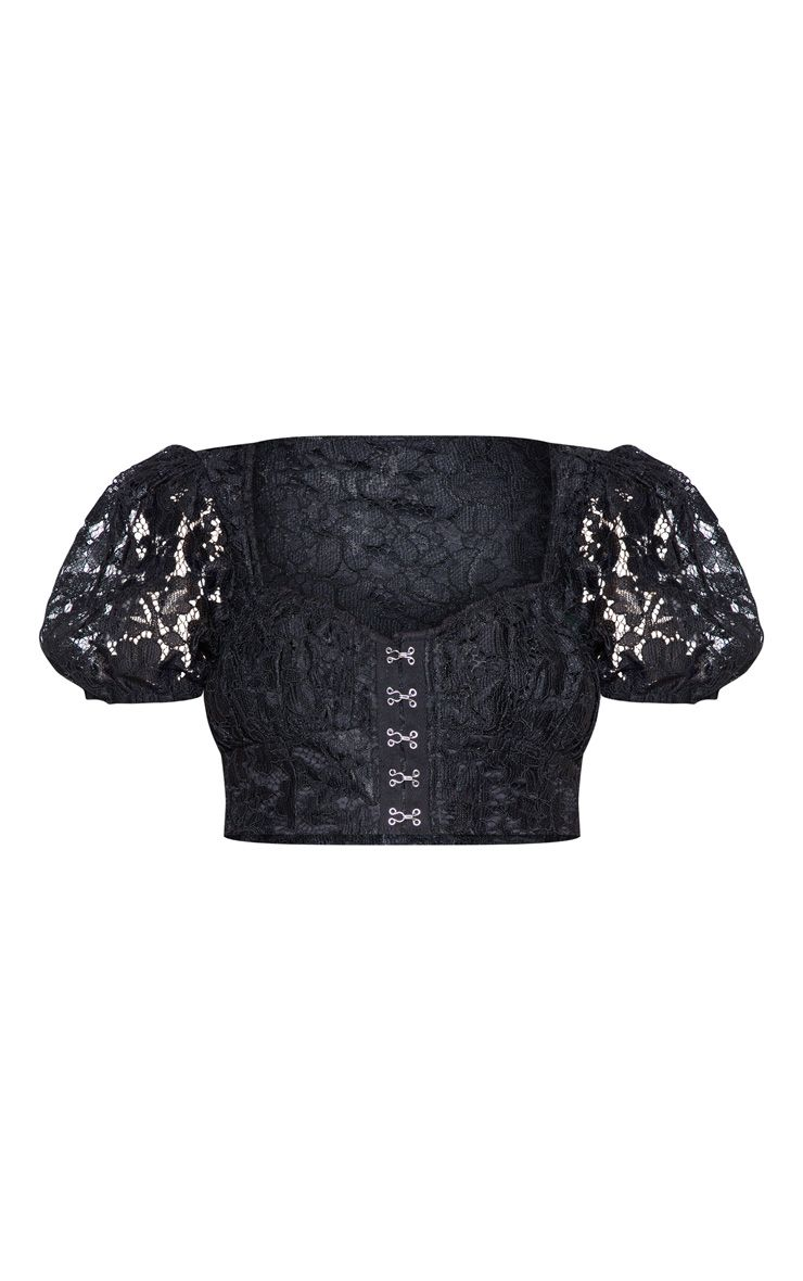 Black Lace Puff Sleeve Crop Top